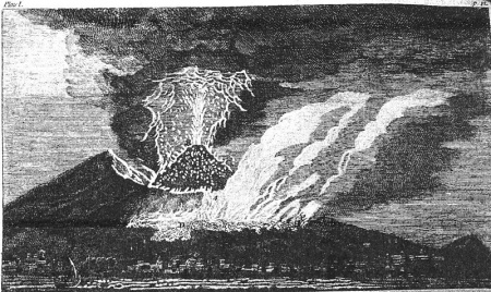 Vesuvius eruption in 1767 sketched by William Hamilton who described it as Plate I. in a letter from Naples dated December 29, 1767, and collected together in 1772 in a single volume.